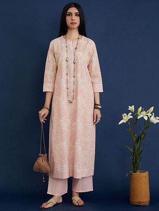 Pink and Beige Block Printed Cotton Kurta
