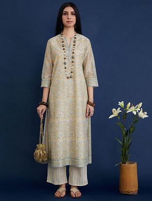Blue and Beige Block Printed Silk Chanderi Kurta