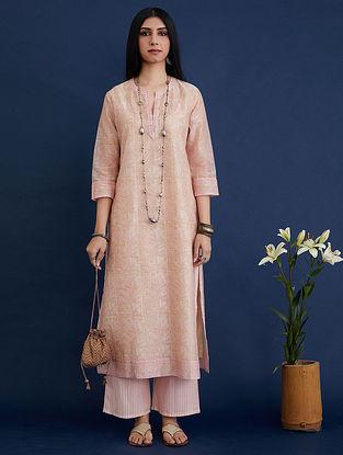 Pink and Beige Block Printed Silk Chanderi Kurta