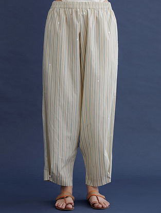 Blue and Beige Block Printed Cotton Pants