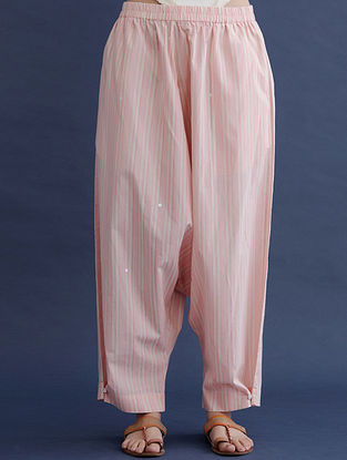 Pink and Beige Block Printed Cotton Pants