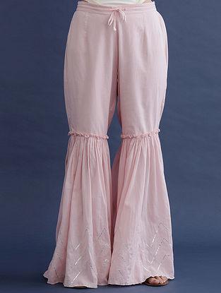 Pink with Zari and Gota work Cotton Palazzos