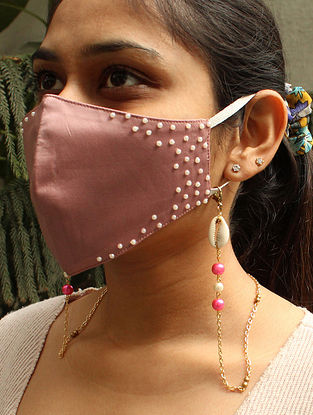 Pink Gold Tone Handcrafted Mask Chain With Shells And Pearls