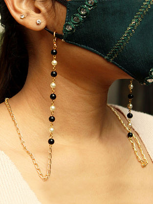 Black Gold Tone Handcrafted Mask Chain With Pearls