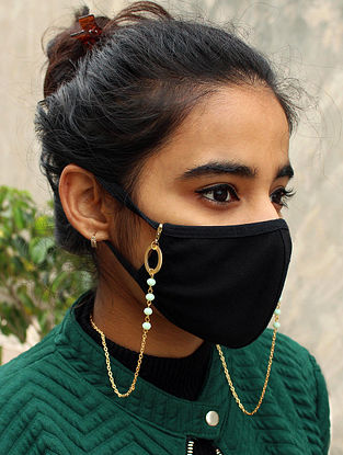 Green Gold Tone Handcrafted Mask Chain
