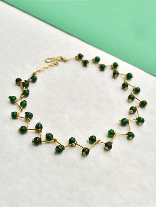 Green Gold Tone Beaded Anklets