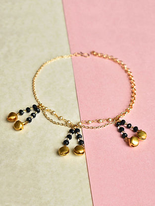 Blue Gold Tone Handcrafted Anklets