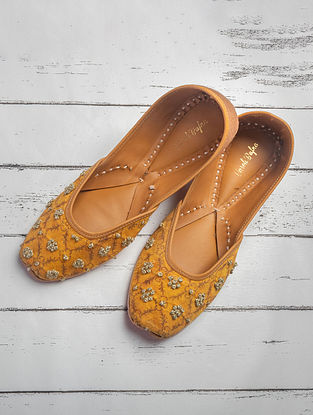 Mustard Hand Embroidered Printed Cotton Satin Juttis