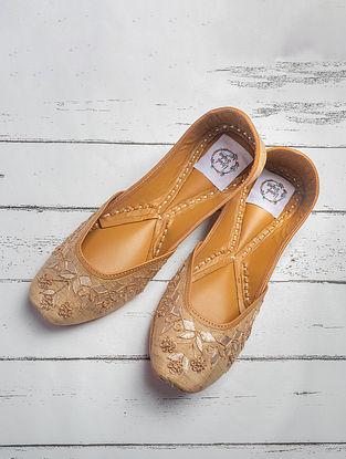 Gold Handcrafted Khadi Silk Juttis
