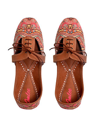 Peach Handcrafted Printed Leather Juttis