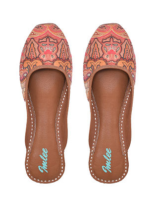 Peach Handcrafted Printed Leather Mojaris