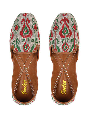 Red Green Handcrafted Printed Leather Juttis