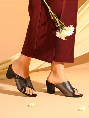 Grey Black Handcrafted Satin Leather Block Heels