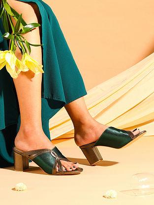 Green Titanium Handcrafted Satin Leather Block Heels
