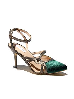 Green Titanium Handcrafted Satin Leather Pencil Heels
