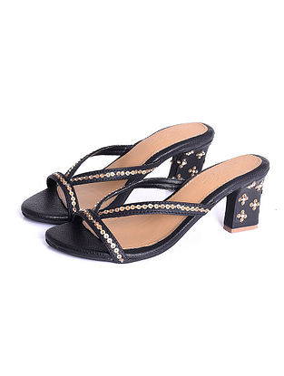 Black Gold Handcrafted Faux Leather Block Heels