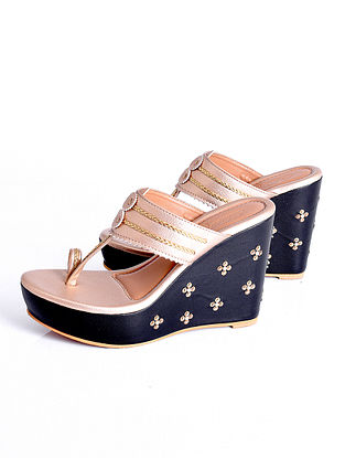 Black Gold Handcrafted Faux Leather Kolhapuri Wedges