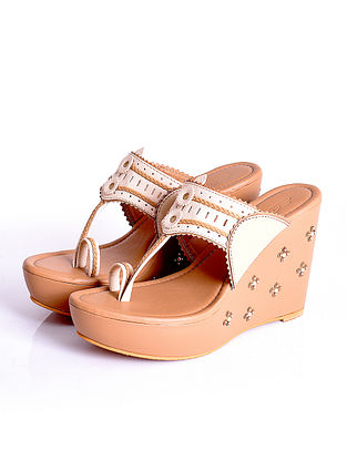 Beige Cream Handcrafted Faux Leather Kolhapuri Wedges