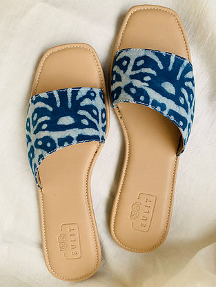 Blue Hand Block Printed Cotton Flats