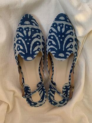 Blue Hand Block Printed Cotton Mules