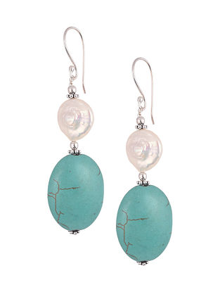 Calcite Shell Pearl  Sterling Silver Earrings