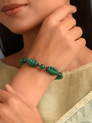 Green Onyx Garnet  Sterling Silver Bracelet