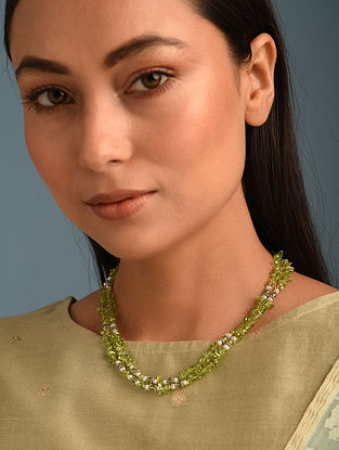 Peridot Cultured Freshwater Pearl  Sterling Silver Necklace