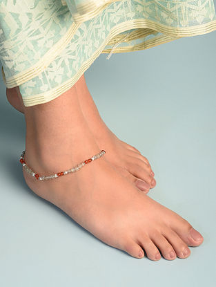 Labradorite Carnelian Sterling Silver Ankletwith Cultured Freshwater Pearl