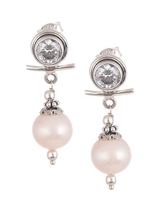 Cultured Freshwater Pearl Cubic Zirconia  Sterling Silver Post Earrings
