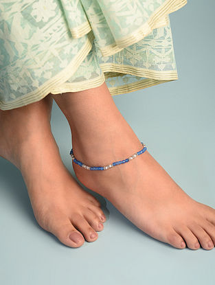 Blue Chalcedony Cultured Freshwater Pearl  Sterling Silver Anklet