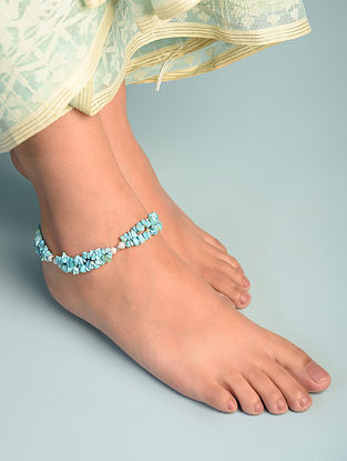 Calcite Cultured Freshwater Pearl  Sterling Silver Anklet