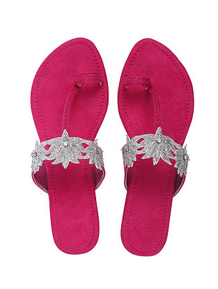Pink Handcrafted Faux Leather Kolhapuri Flats
