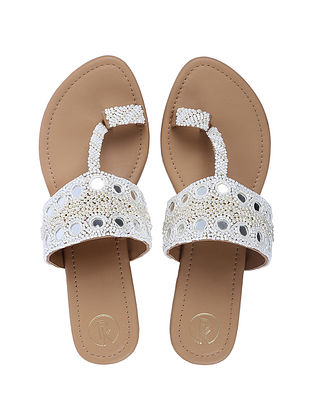 White Handcrafted Faux Leather Kolhapuri Flats