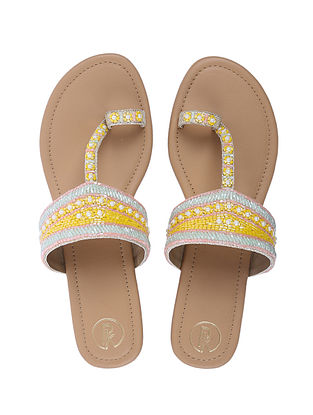 Mustard Handcrafted Faux Leather Kolhapuri Flats