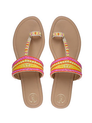 Pink Yellow Handcrafted Faux Leather Kolhapuri Flats