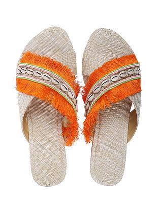 Orange Handcrafted Jute Flats