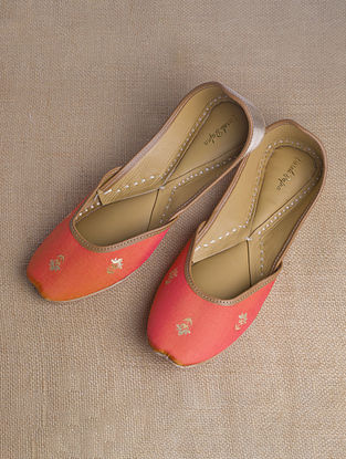 Orange Gold Handcrafted Brocade Silk Juttis