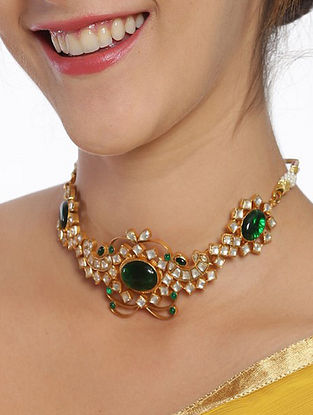 Green Gold Plated Kundan Silver Choker Necklace