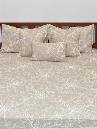 Beige & Cream Reversible Cotton Jacquard King Size Bedcover Set
