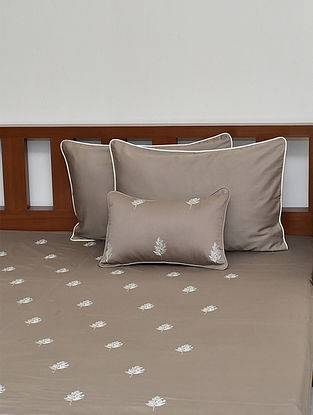 Light Brown Floral embroidered King Size Cotton Satin Bedcover Set