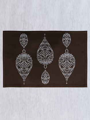 Dark Brown Dew Drop Cotton Embroidered Table Mat (L - 18.25in ,W - 12in)