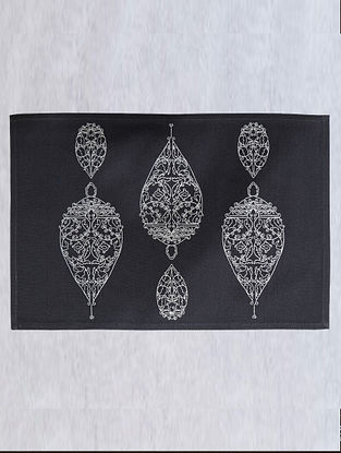 Dark Grey Dew Drop Cotton Embroidered Table Mat (L - 18.25in ,W - 12in)