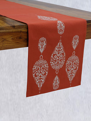 Dew Drop Burnt Orange Embroidered Cotton Table Runner (L - 90in ,W - 14in)