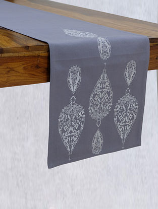 Dew Drop Grey Embroidered Cotton Table Runner (L - 90in ,W - 14in)