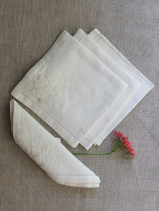 Cream & Self Hand Embroidered Linen Table Napkin (Set of 4)