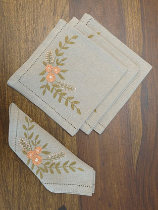 Grey with green & peach hand embroidered Linen Table Napkin (Set of 4)