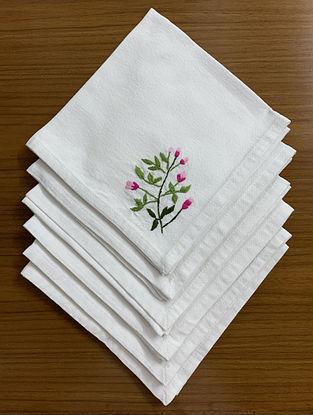White floral hand embroidered Cotton Table Napkin (Set of 6)