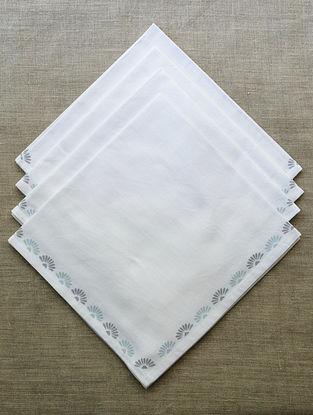 Off White with Grey & Azure Block Printed Cotton Table Napkin (Set of 4)