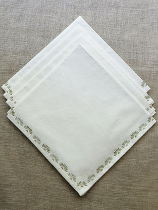 Off White with Natural & Ficelle Block printed Cotton Table Napkin (Set of 4)
