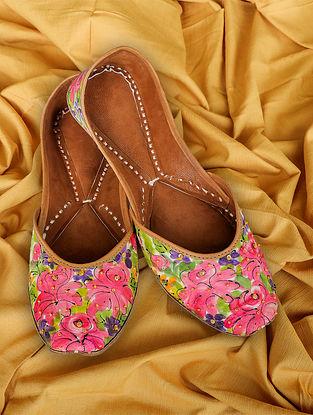 Pink Handpainted Silk Leather Juttis
